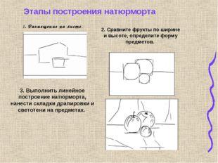 1. Размещение на листе. 2. Сравните фрукты по ширине и высоте, определите фор