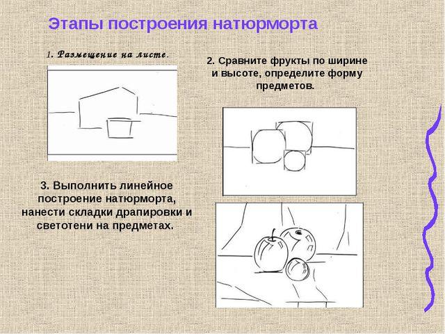 1. Размещение на листе. 2. Сравните фрукты по ширине и высоте, определите фор...