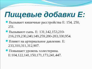 Пищевые добавки Е: Вызывает кишечные расстройства Е: 154, 250, 251. Вызывают