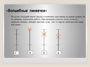 «Волшебные линеечки» На полях тетрадей чертят шкалы и отмечают крестиком, на