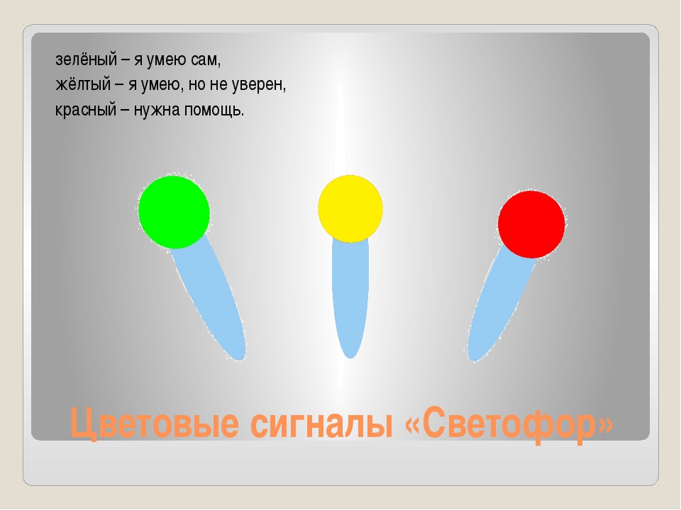 Цветовые сигналы «Светофор» зелёный – я умею сам, жёлтый – я умею, но не увер...