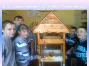 Изготовление кормушки для МКДОУ «Тимирязевского детсого сада»