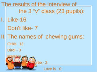 "The results of the interview of the 3 ""v"" class (23 pupils): I. Like-16 Don'"