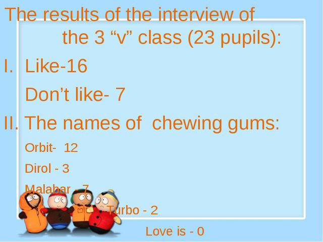 "The results of the interview of the 3 ""v"" class (23 pupils): I. Like-16 Don'..."