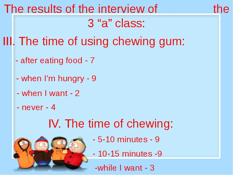 "The results of the interview of the 3 ""a"" class: III. The time of using chew..."