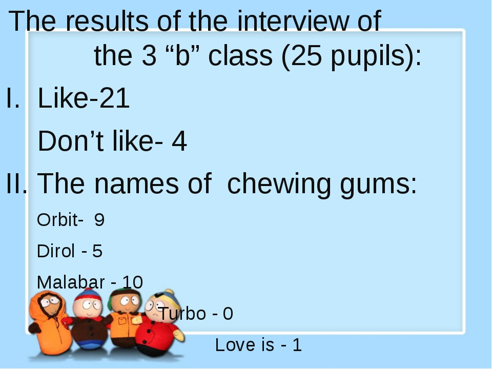 "The results of the interview of the 3 ""b"" class (25 pupils): I. Like-21 Don'..."
