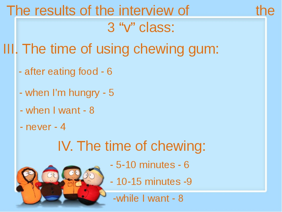 "The results of the interview of the 3 ""v"" class: III. The time of using chew..."