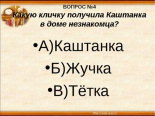 ВОПРОС №4 Какую кличку получила Каштанка в доме незнакомца? А)Каштанка Б)Жучк