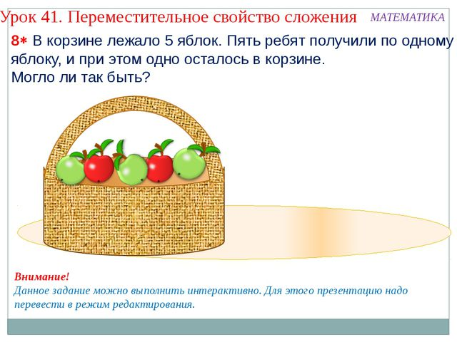 8 В корзине лежало 5 яблок. Пять ребят получили по одному яблоку, и при это...