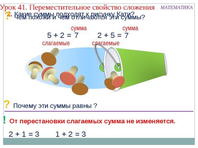 слагаемые 2 + 1 = 3 1 + 2 = 3 2. Какие суммы подходят к рисунку Кати? Урок 41...