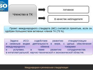 Членство в ТК Активное В качестве наблюдателя Проект международного стандарта