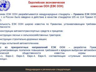 Европейская экономическая комиссия ООН (ЕЭК ООН) В рамках ЕЭК ООН разрабатыва