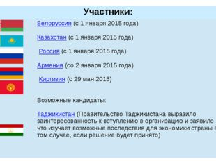 Участники:  Белоруссия(с 1 января 2015 года) Казахстан(с 1 января 2015 года