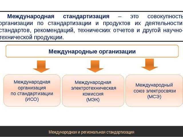 Международная стандартизация – это совокупность организации по стандартизации...
