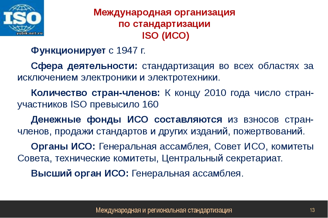 Международная организация по стандартизации ISO (ИСО) Функционирует с 1947 г....