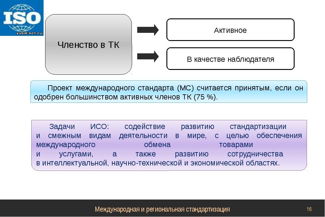 Членство в ТК Активное В качестве наблюдателя Проект международного стандарта...