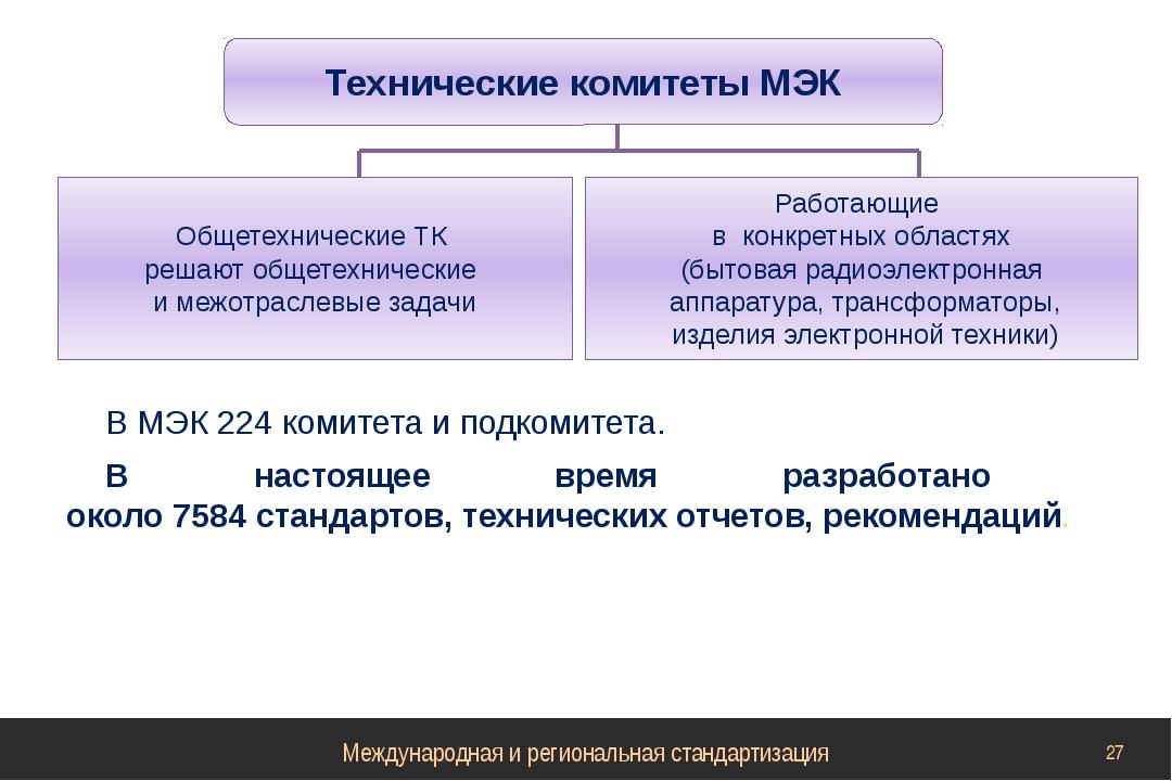 В МЭК 224 комитета и подкомитета. В настоящее время разработано около 7584 ст...