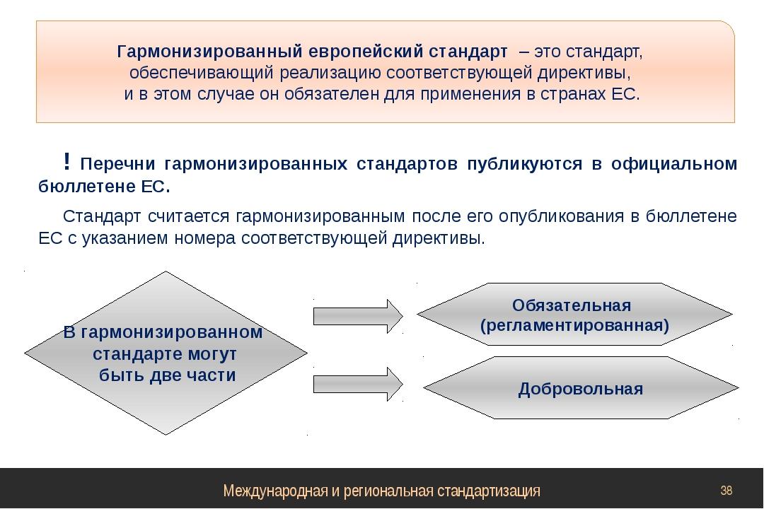 ! Перечни гармонизированных стандартов публикуются в официальном бюллетене ЕС...