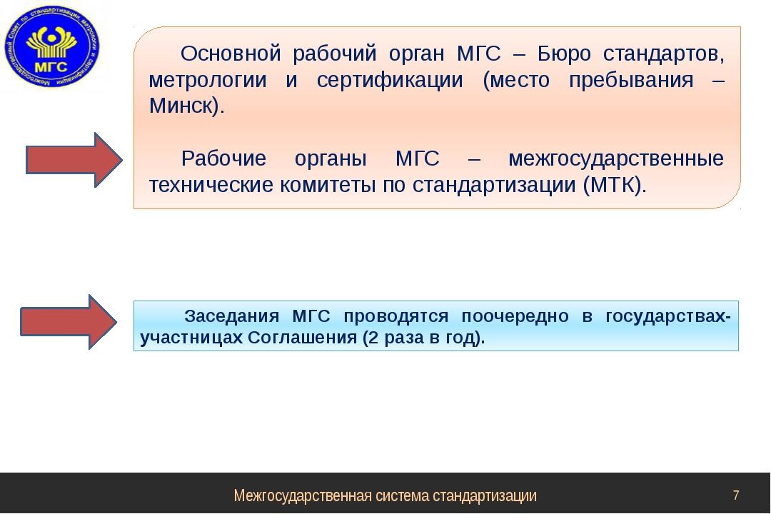 Основной рабочий орган МГС – Бюро стандартов, метрологии и сертификации (мест...
