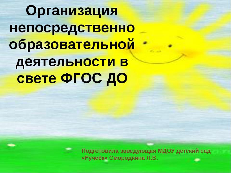 Организация непосредственно образовательной деятельности в свете ФГОС ДО Под...