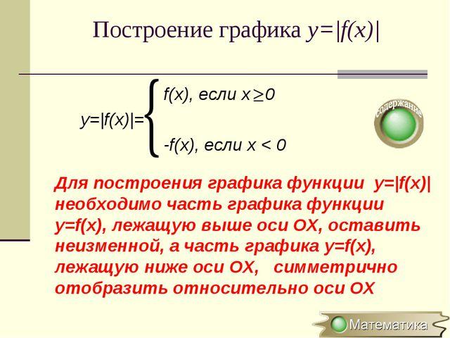 Построение графика y=|f(x)| Для построения графика функции y=|f(x)| необходим...