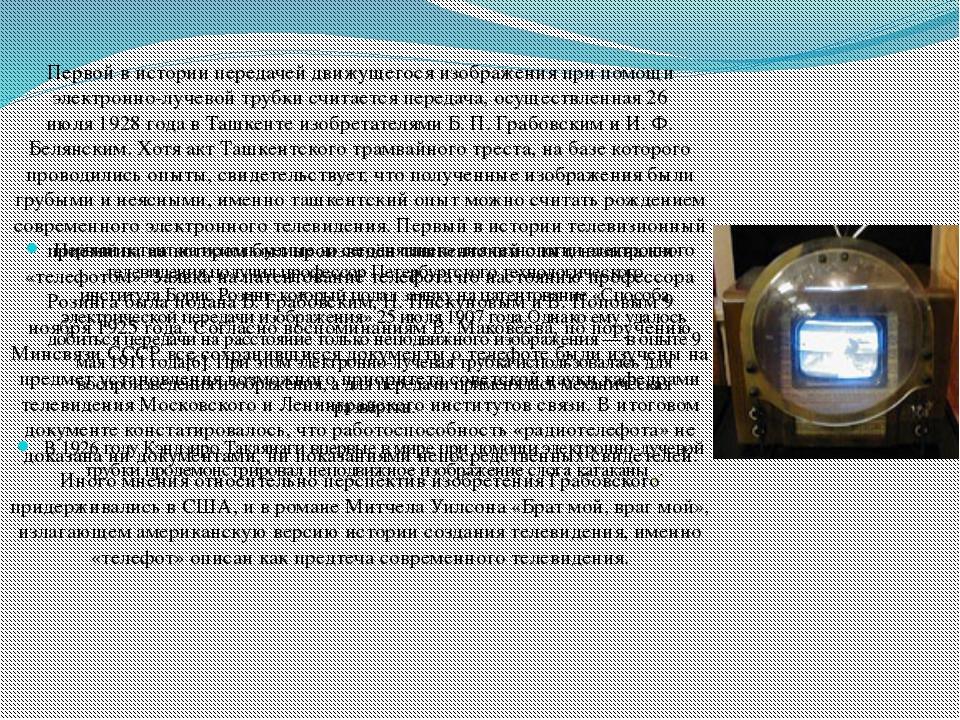 Первый патент на используемые до сегодняшнего дня технологии электронного тел...