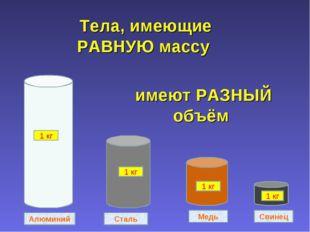 Свинец Медь Сталь Алюминий 1 кг 1 кг 1 кг 1 кг Тела, имеющие РАВНУЮ массу име
