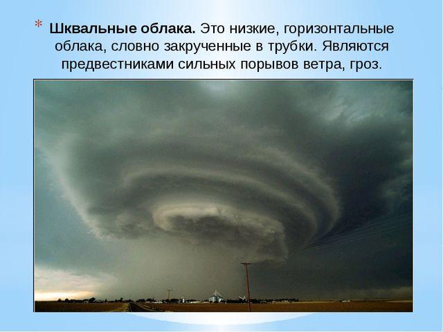 Шквальные облака.Это низкие, горизонтальные облака, словно закрученные в тру...