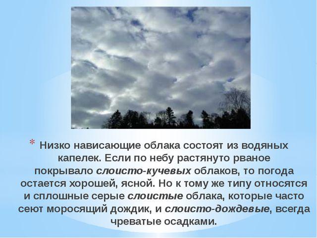 Низко нависающие облака состоят из водяных капелек. Если по небу растянуто рв...