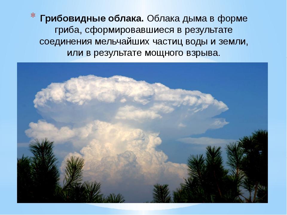 Грибовидные облака.Облака дыма в форме гриба, сформировавшиеся в результате...