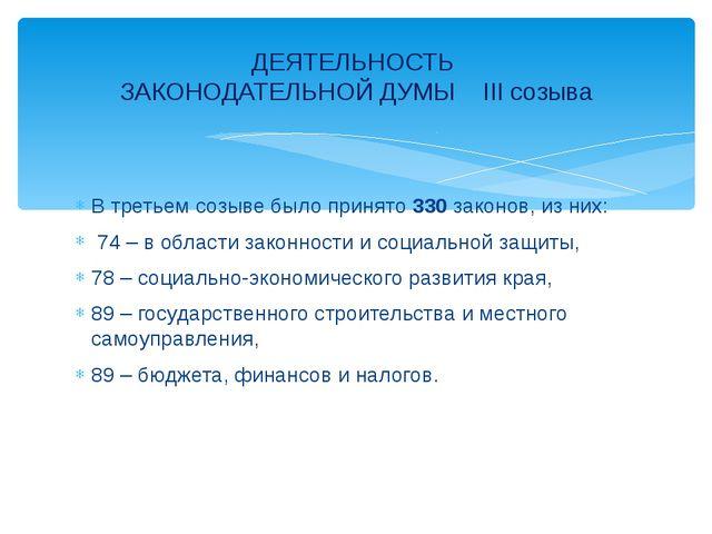В третьем созыве было принято 330 законов, из них: 74 – в области законности...