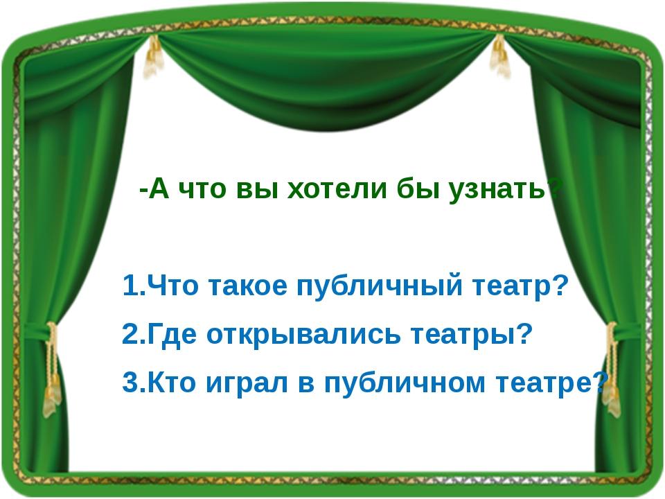 -А что вы хотели бы узнать? 1.Что такое публичный театр? 2.Где открывались т...