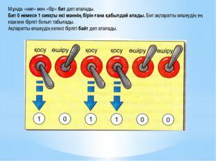 Мұнда «нөл» мен «бір» бит деп аталады. Бит 0 немесе 1 сияқты екі мәннің бірін