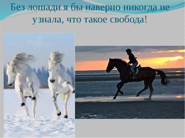 Без лошади я бы наверно никогда не узнала, что такое свобода!