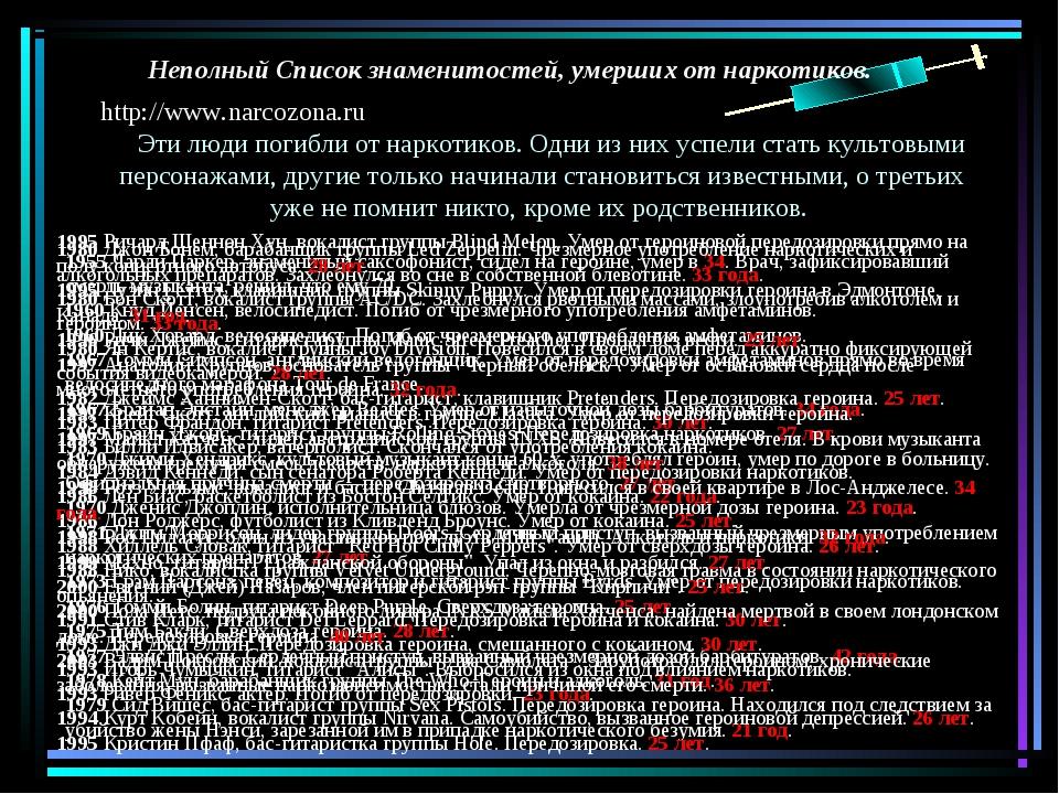 http://www.narcozona.ru Эти люди погибли от наркотиков. Одни из них успели ст...