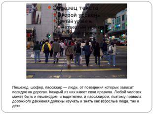 Пешеход, шофер, пассажир — люди, от поведения которых зависит порядок на доро