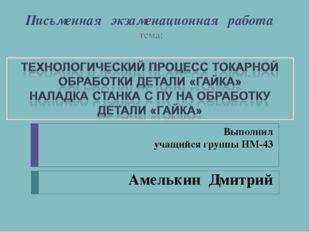 Письменная экзаменационная работа тема: Выполнил учащийся группы НМ-43 Амельк