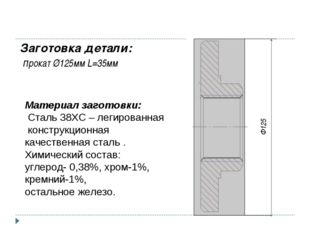 Ф125 Заготовка детали: прокат Ø125мм L=35мм Материал заготовки: Сталь 38ХС –