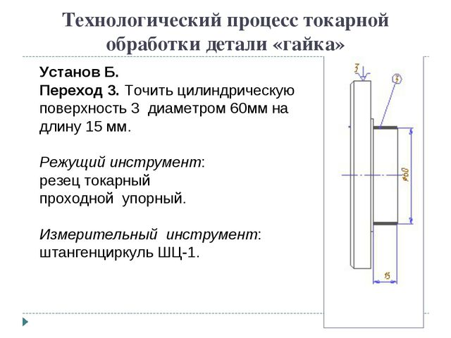Технологический процесс токарной обработки детали «гайка» Установ Б. Переход...