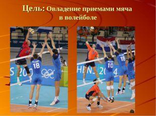 Цель: Овладение приемами мяча в волейболе