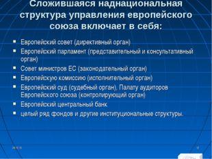 Сложившаяся наднациональная структура управления европейского союза включает