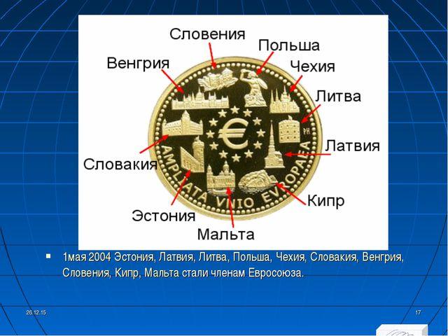 1мая2004Эстония,Латвия,Литва,Польша,Чехия,Словакия,Венгрия,Словения,...