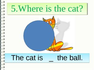 5.Where is the cat? The cat is _ the ball.