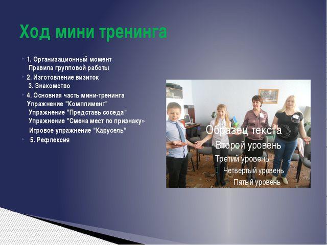 1. Организационный момент Правила групповой работы 2. Изготовление визиток...