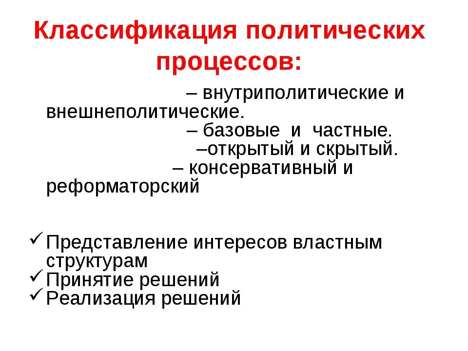 Классификация политических процессов: По масштабам – внутриполитические и вне...