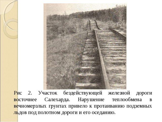 Рис 2. Участок бездействующей железной дороги восточнее Салехарда. Нарушение...