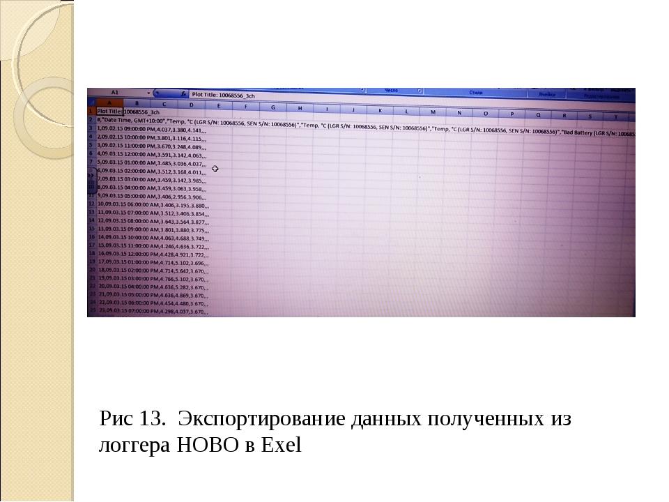 Рис 13. Экспортирование данных полученных из логгера НОВО в Exel
