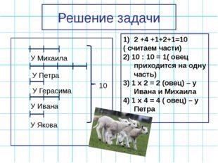 Решение задачи У Ивана 10 2 +4 +1+2+1=10 ( считаем части) 2) 10 : 10 = 1( ове