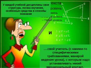 У каждой учебной дисциплины своя структура, логика изучения, особенные средс