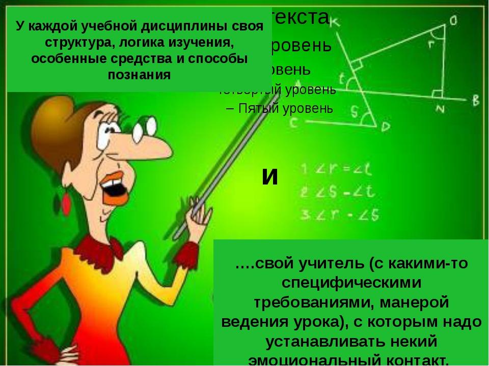 У каждой учебной дисциплины своя структура, логика изучения, особенные средс...